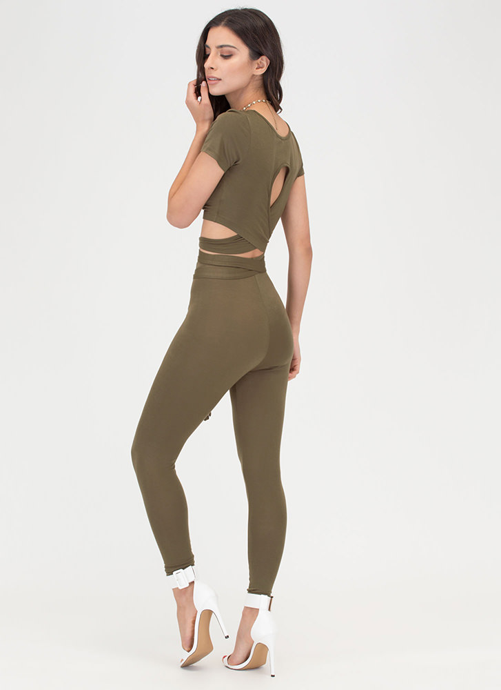 Cross Train Tied Two-Piece Jumpsuit OLIVE