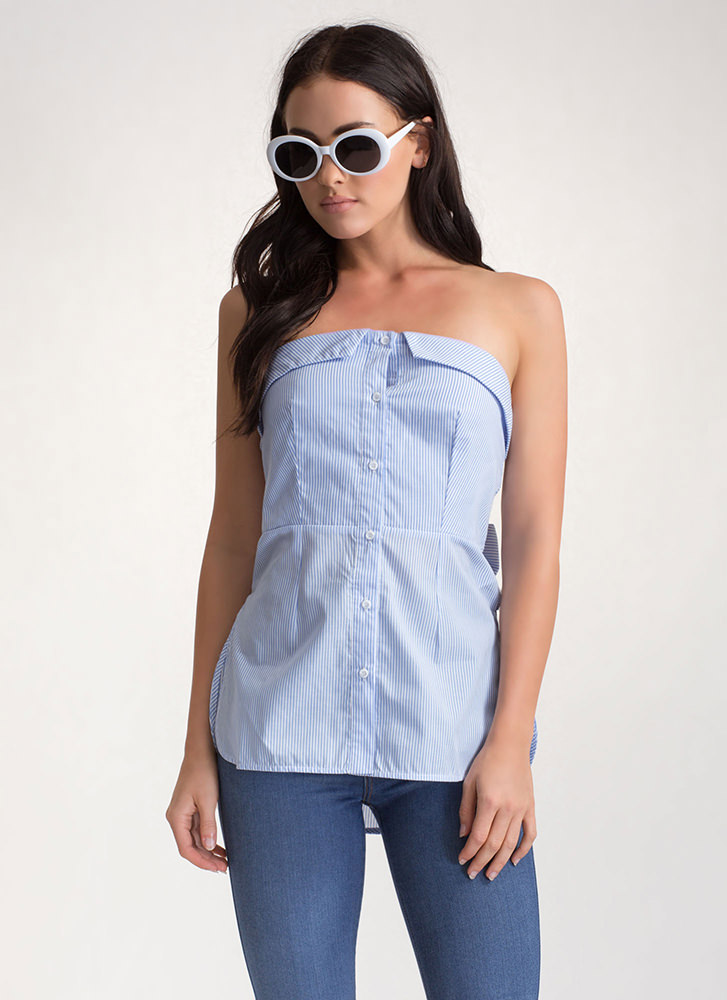 Bare In Mind Striped Tied Strapless Top BLUE