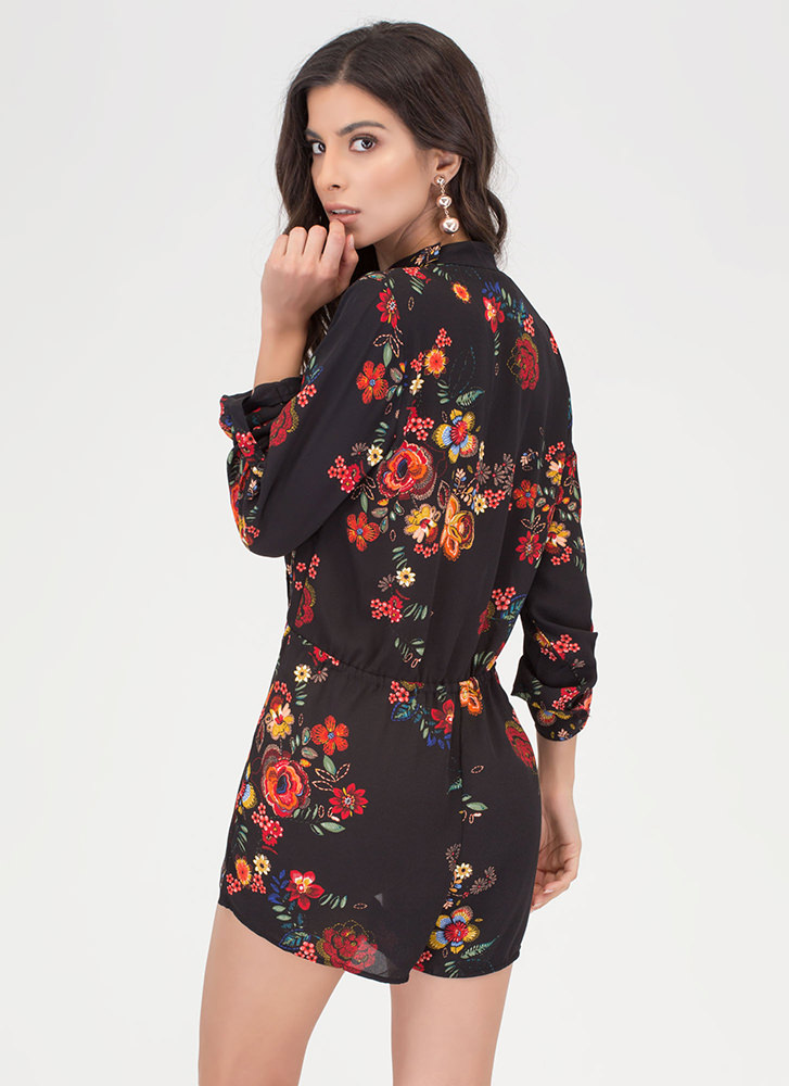 Folk Florals Plunging Choker Romper BLACKRED