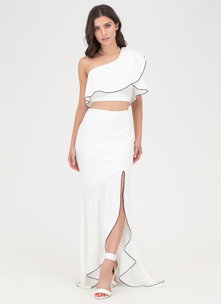 Special Night Ruffled Two-Piece Dress IVORY