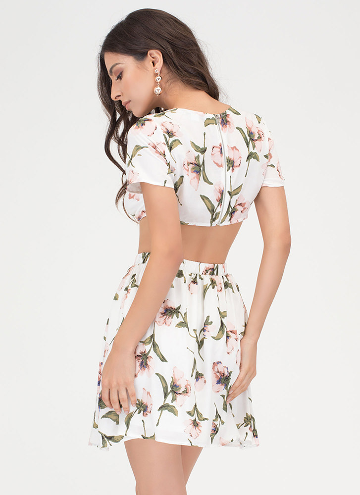 Ring Of Flower Cut-Out Floral Dress IVORY