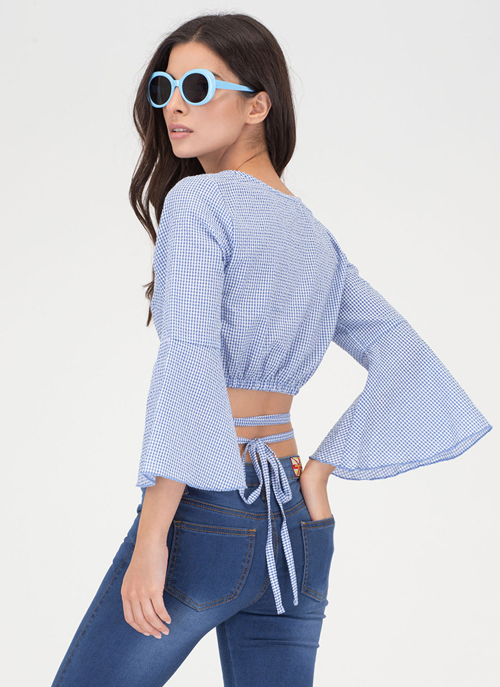 Picnic Perfect Tied Wrap Bell Sleeve Top LTBLUE