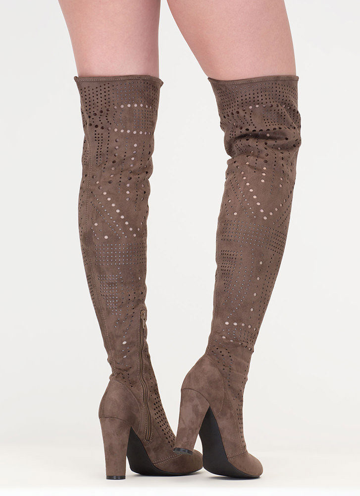 Inner Circle Perforated Thigh-High Boots TAUPE