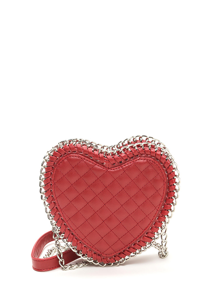 I Heart It Faux Leather 'N Chain Bag RED