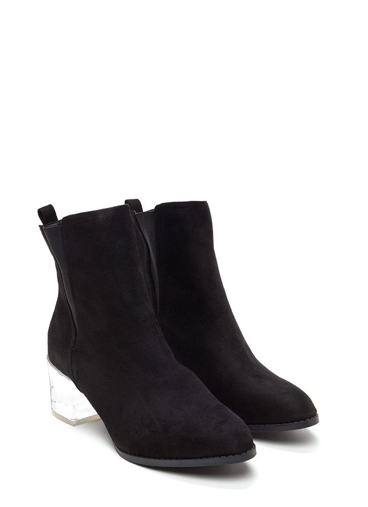 Clear Intentions Chunky Paneled Booties BLACK