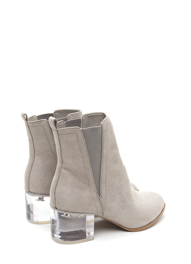 Clear Intentions Chunky Paneled Booties LTGREY