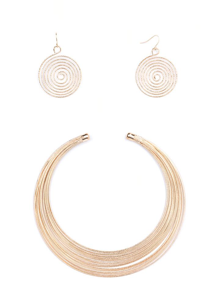 Down To The Wire Collar Necklace Set GOLD