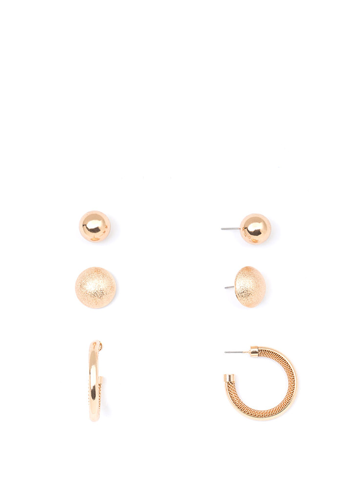 Ball In The Hoop Earring Set GOLD