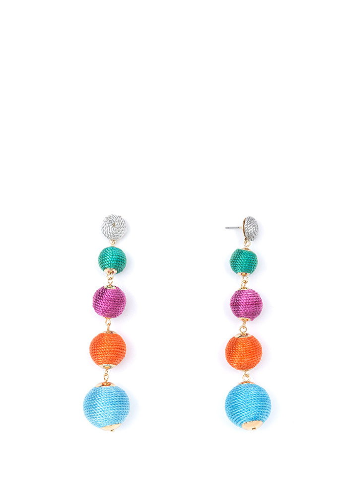 Have A Ball Thread-Wrapped Earrings MULTI
