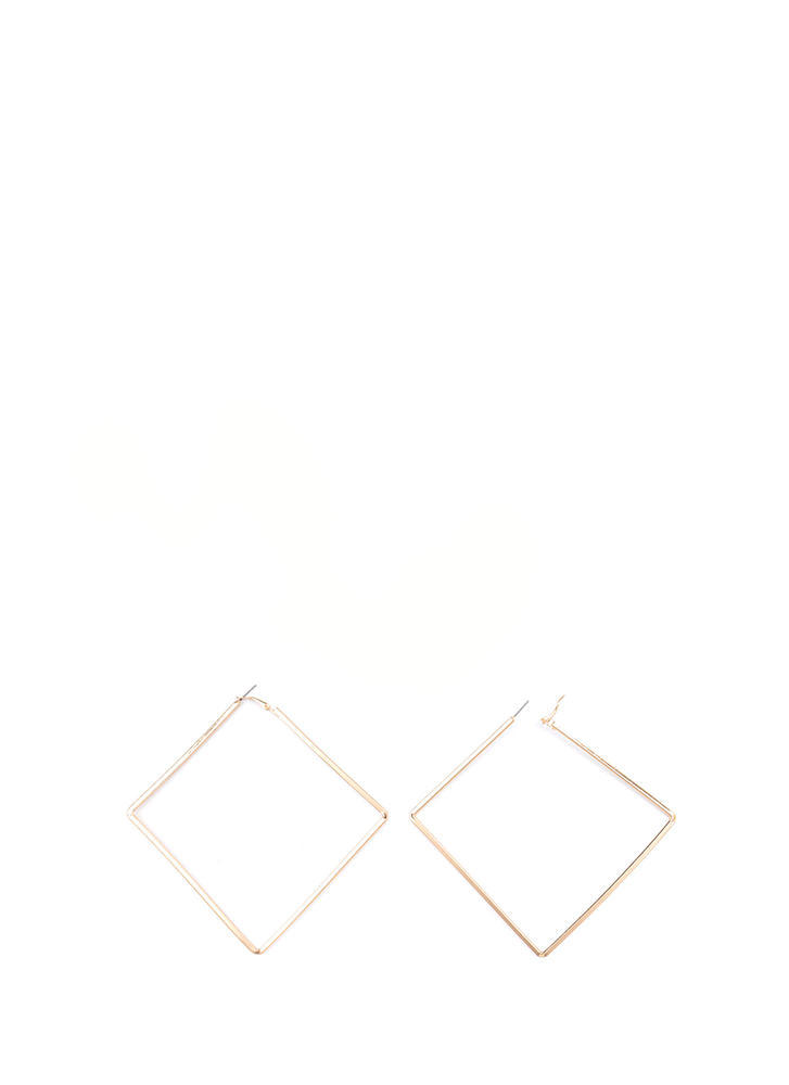 Square Deal Oversized Earrings GOLD