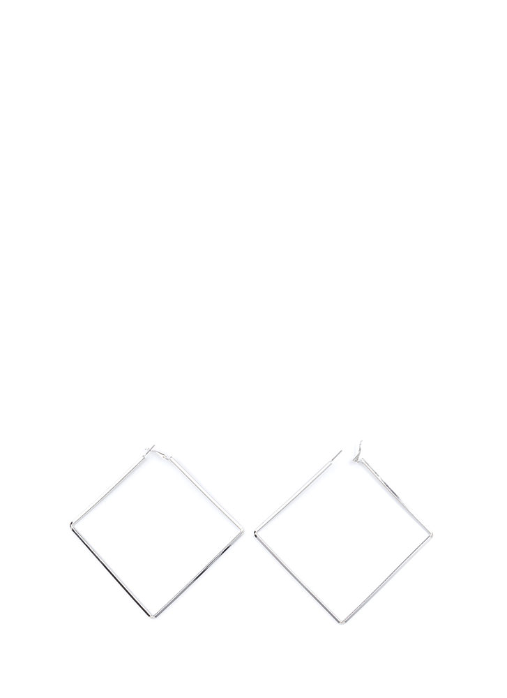 Square Deal Oversized Earrings SILVER