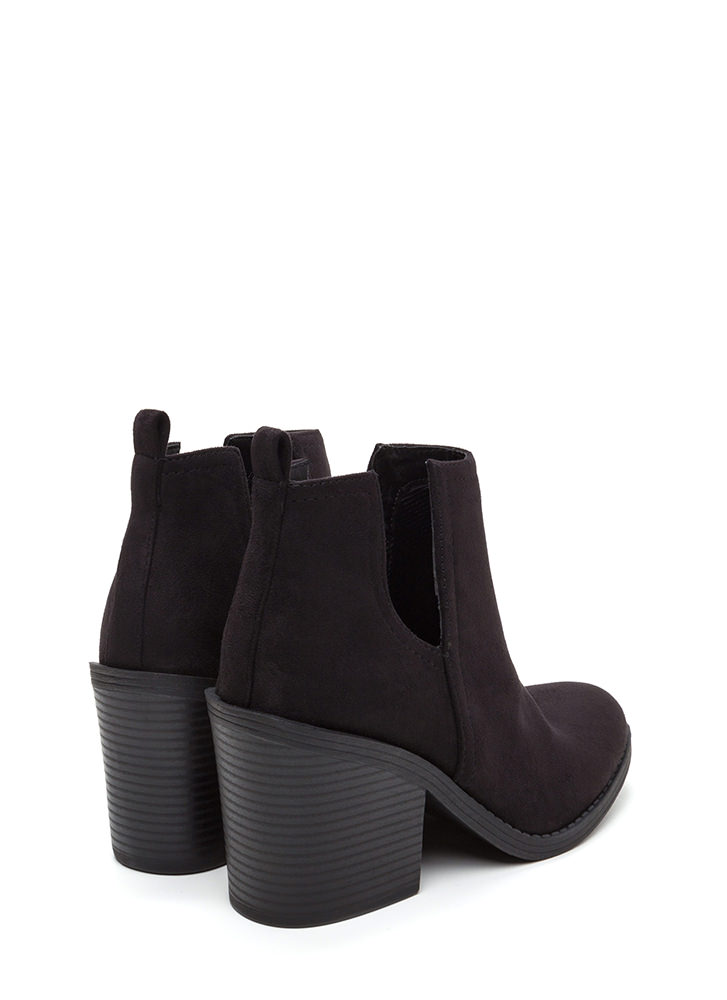 Block Party Chunky Faux Suede Booties BLACK