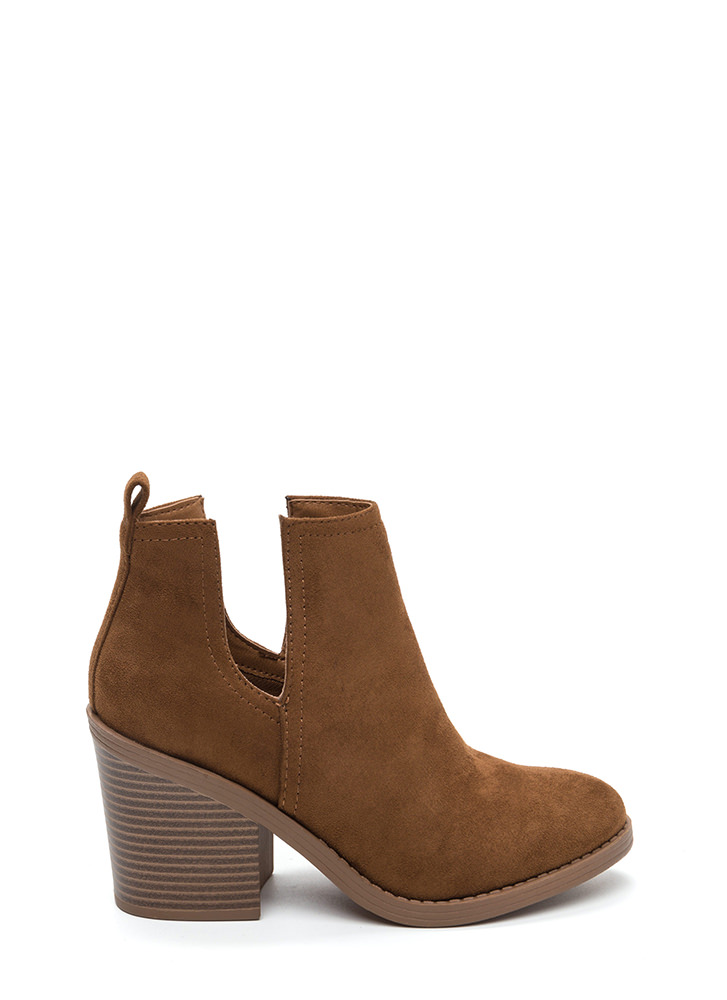 Block Party Chunky Faux Suede Booties CHESTNUT