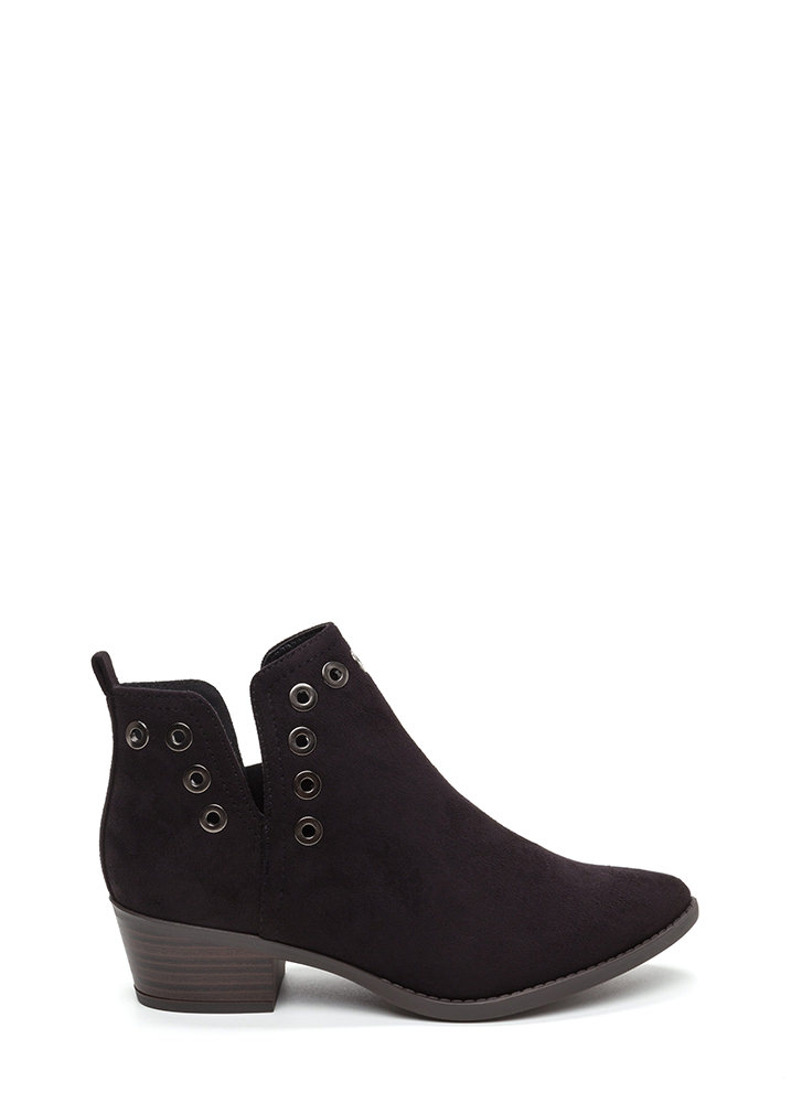 Punched Out Chunky Grommet Booties BLACK