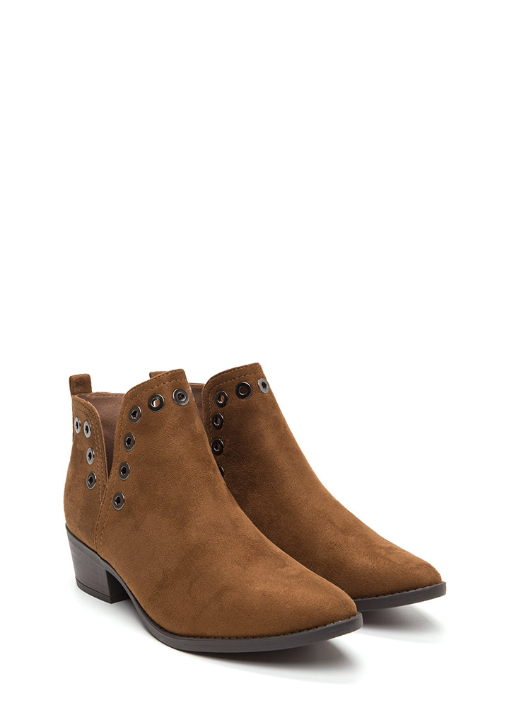 Punched Out Chunky Grommet Booties CHESTNUT