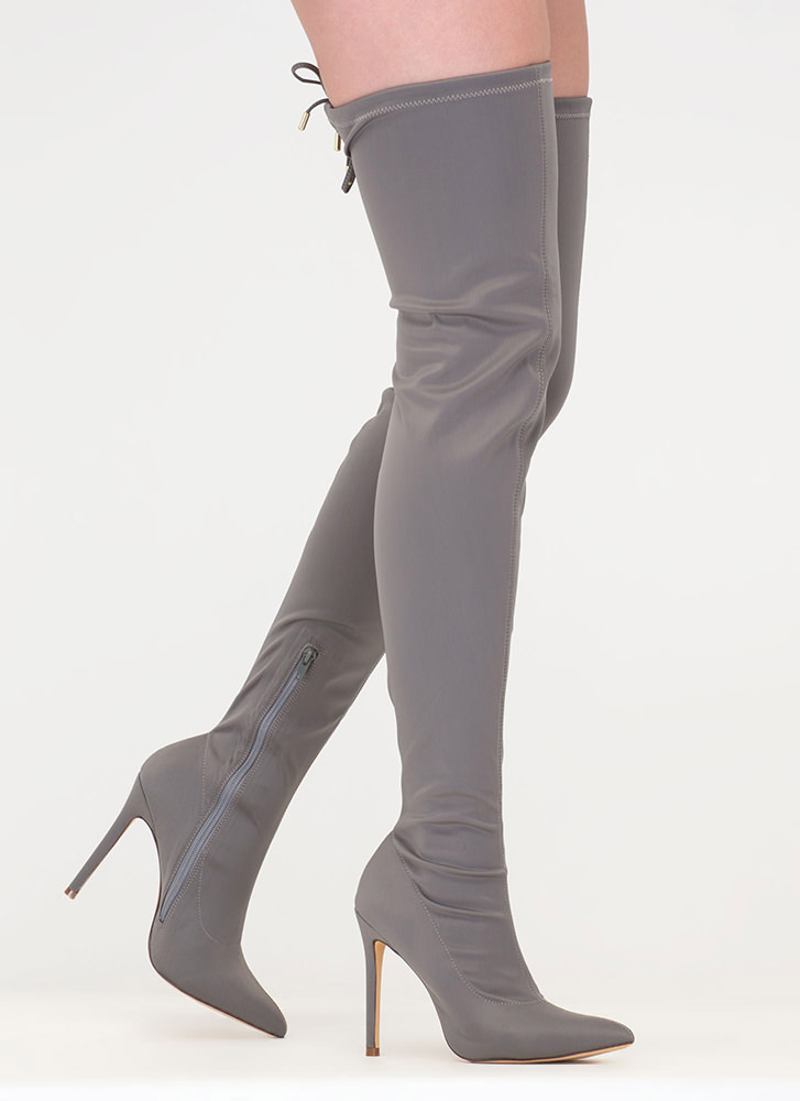 Point Blank Drawstring Thigh-High Boots GREY