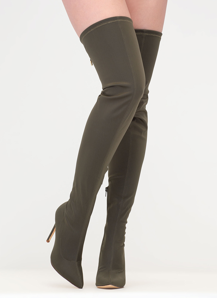 Point Blank Drawstring Thigh-High Boots OLIVE