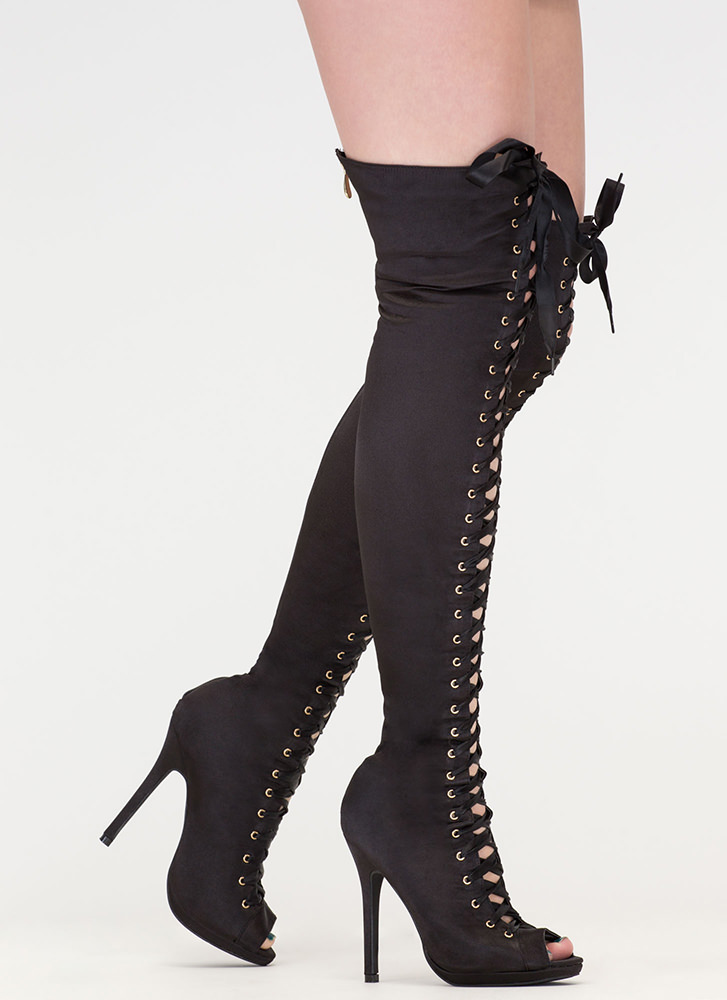 Peep This Satin Lace-Up Thigh-High Boots BLACK