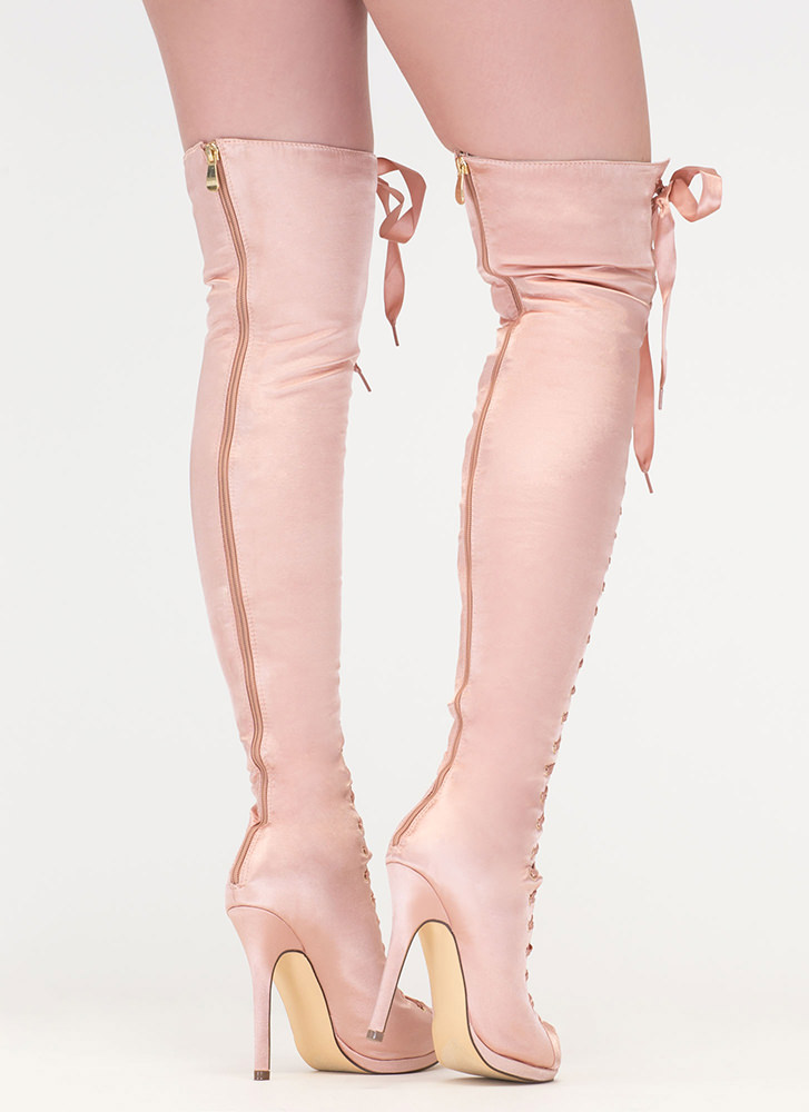 Peep This Satin Lace-Up Thigh-High Boots CHAMPAGNE