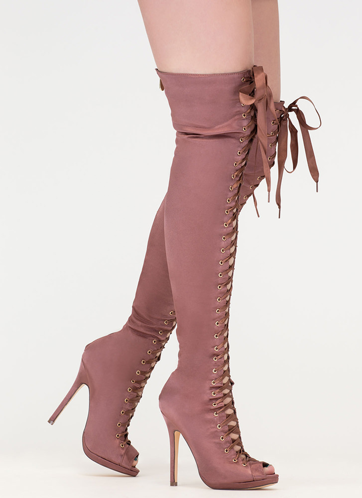 Peep This Satin Lace-Up Thigh-High Boots MOCHA