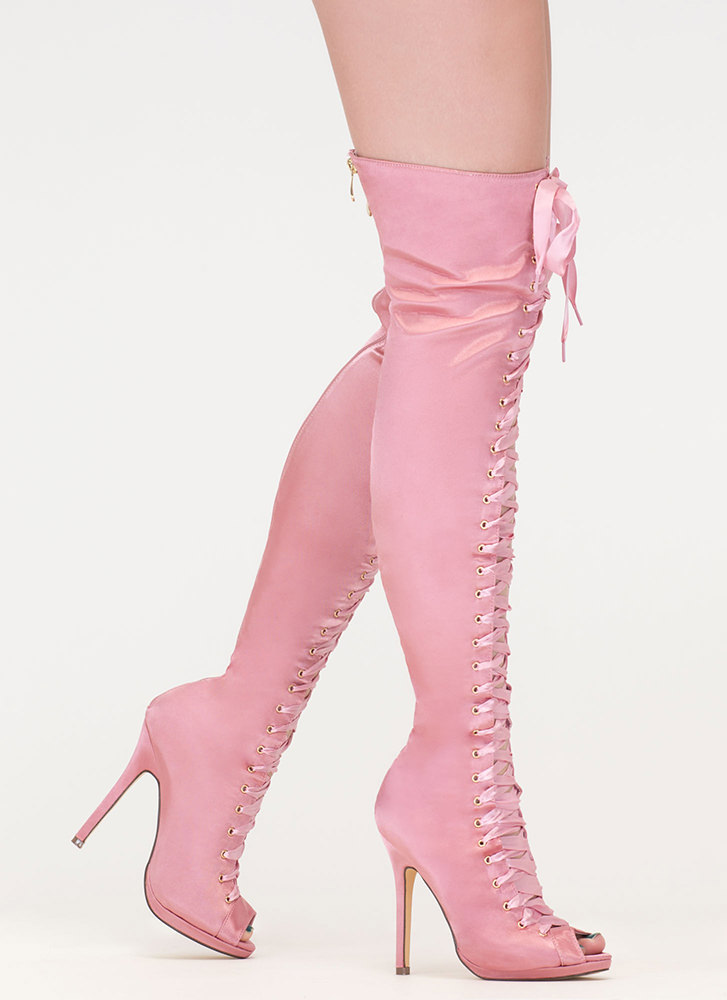 Peep This Satin Lace-Up Thigh-High Boots PINK