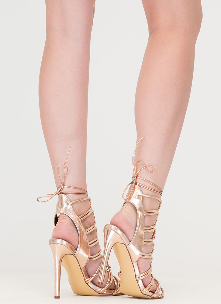 Loop Therapy Lace-Up Metallic Heels ROSEGOLD