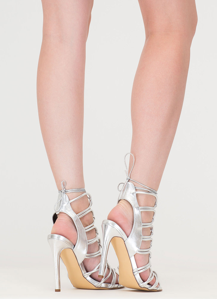 Loop Therapy Lace-Up Metallic Heels SILVER