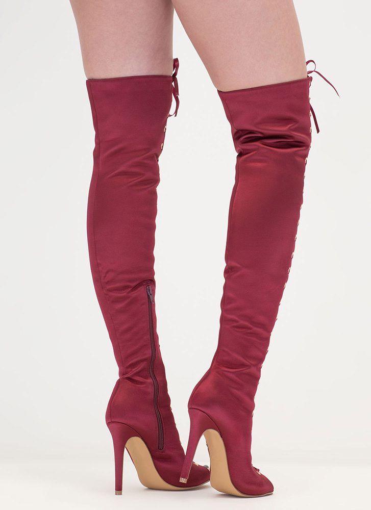 Luxe So Chic Lace-Up Thigh-High Boots WINE