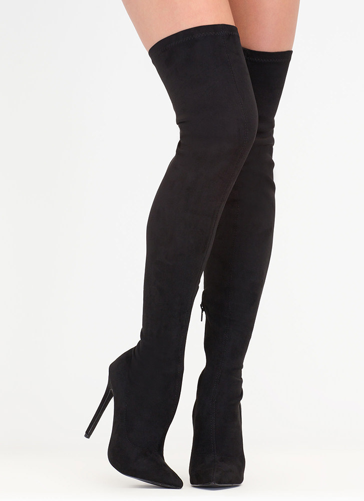 Come Hither Pointy Thigh-High Boots BLACK
