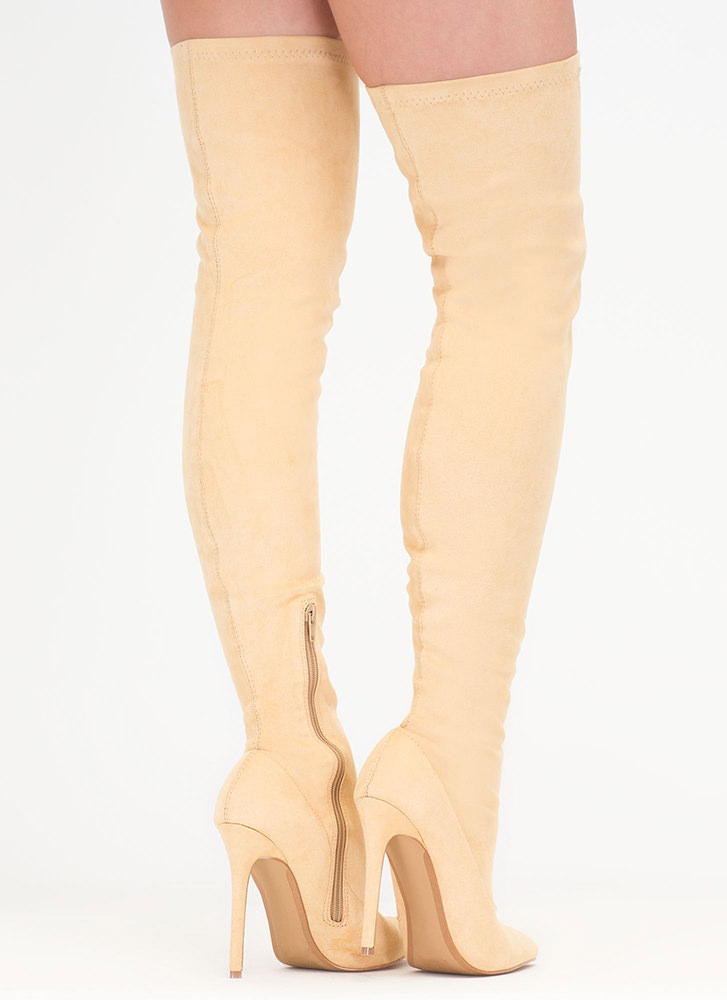 Come Hither Pointy Thigh-High Boots NUDE