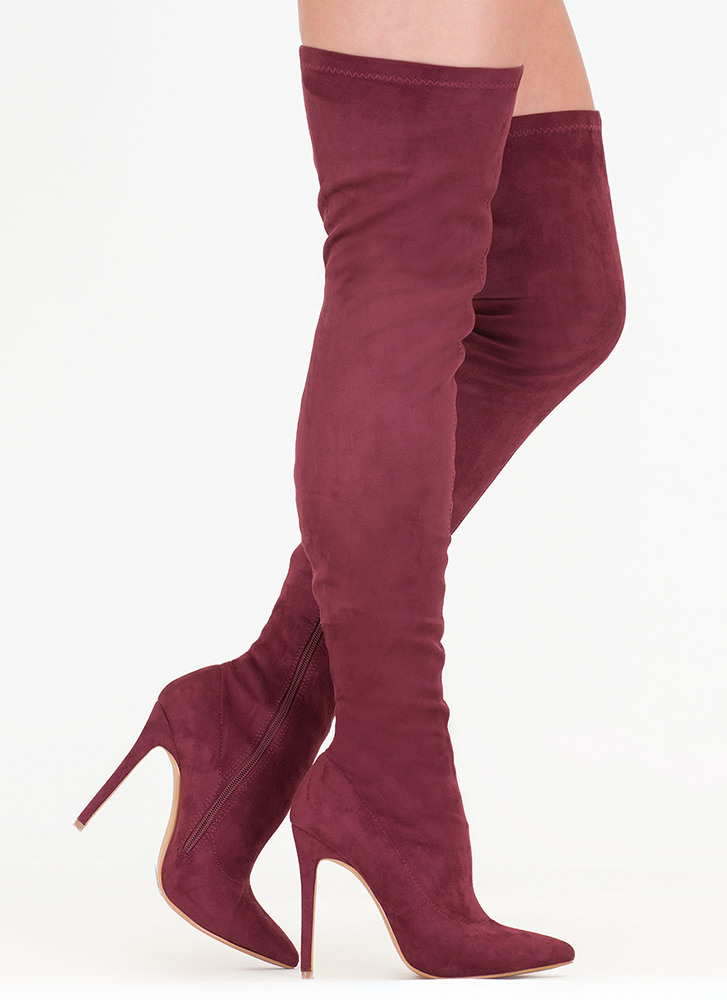 Come Hither Pointy Thigh-High Boots WINE