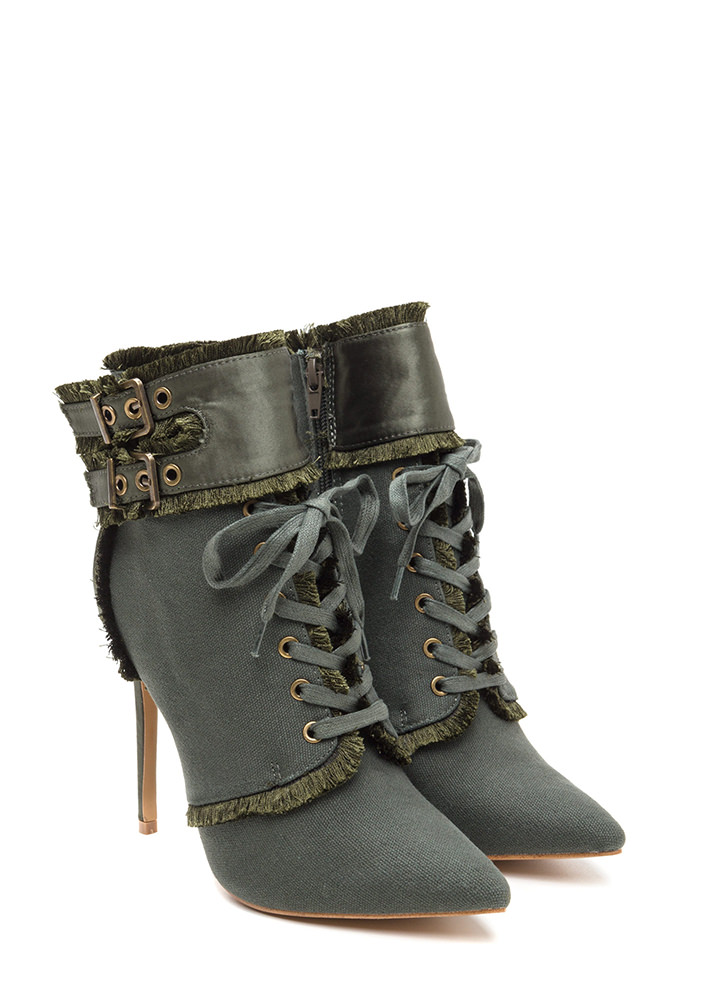 Mini Fringe Pointy Buckled Booties KHAKI