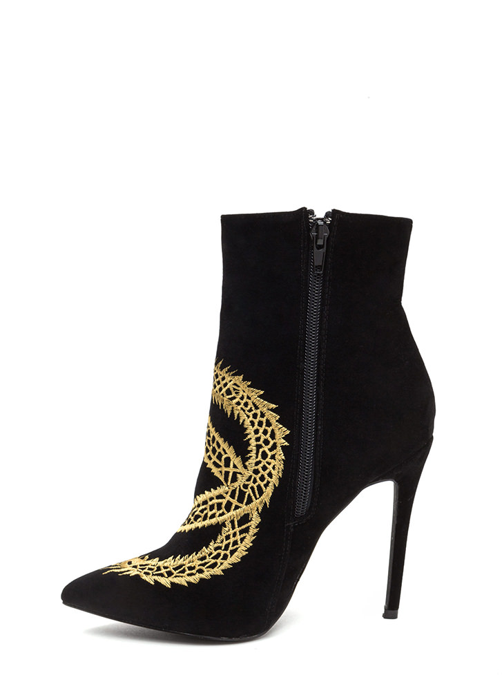 Mythical Dragon Pointy Stiletto Booties BLACK