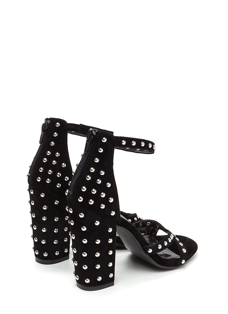 Stud Double Chunky Faux Suede Heels BLACK