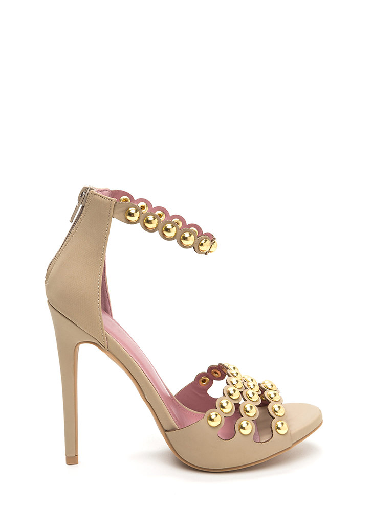 Triple Treat Studded Strappy Heels NUDE