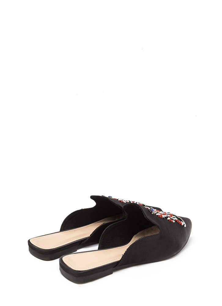 Snake A Look Pointy Beaded Satin Mules BLACK