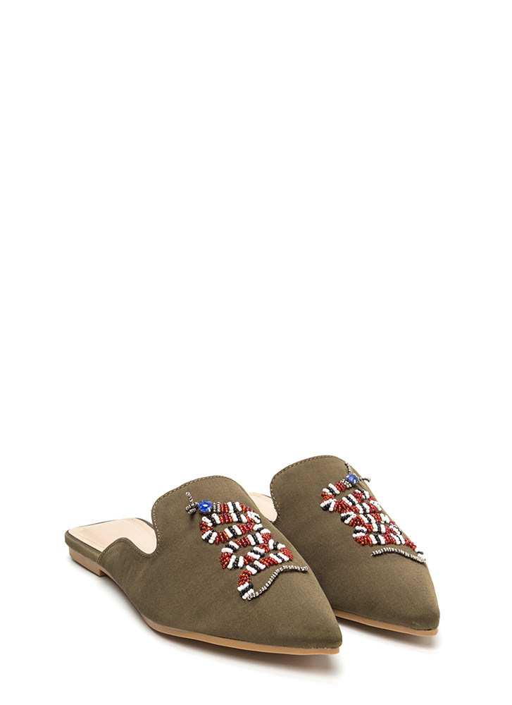 Snake A Look Pointy Beaded Satin Mules OLIVE