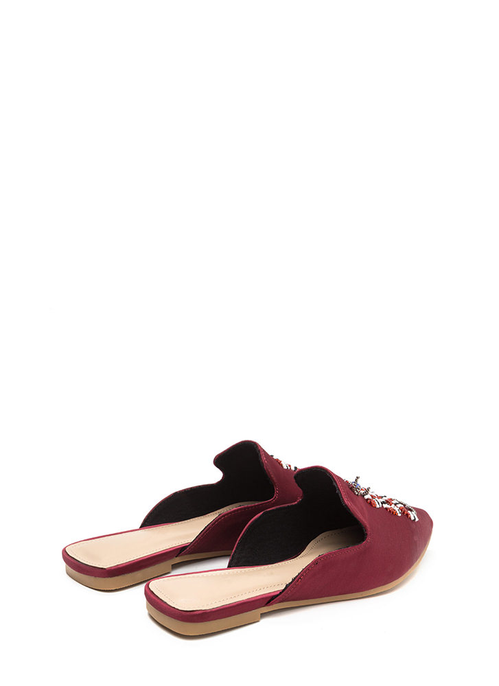 Snake A Look Pointy Beaded Satin Mules WINE