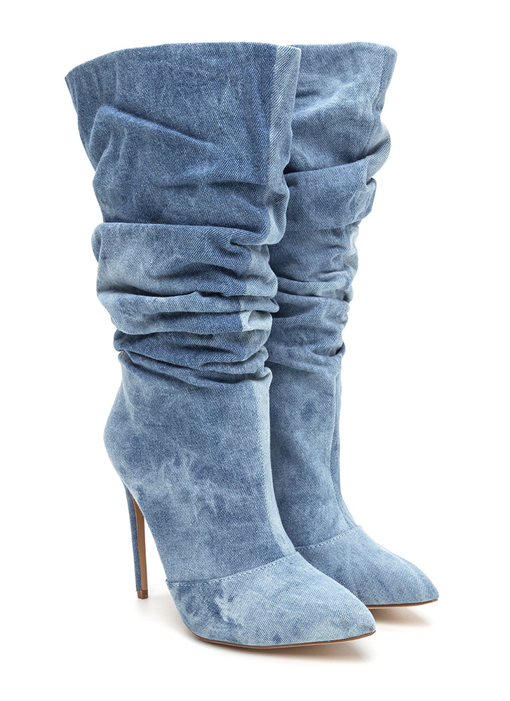 All About The Slouch Denim Boots BLUEWASH