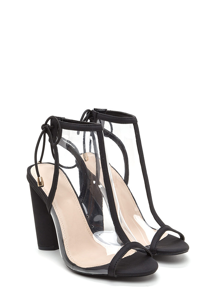 Clear Your Mind Tied Faux Leather Heels BLACK