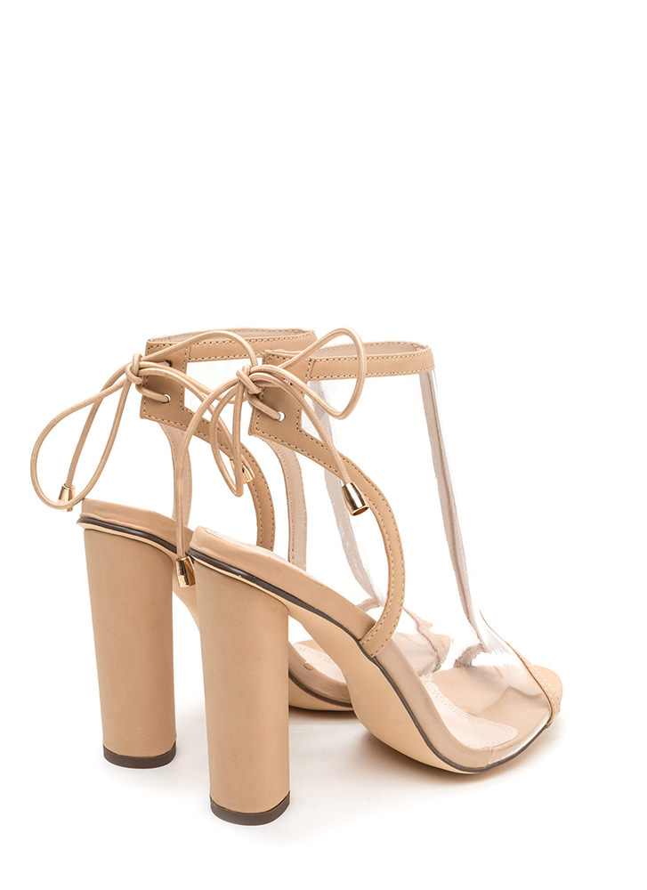 Clear Your Mind Tied Faux Leather Heels NUDE