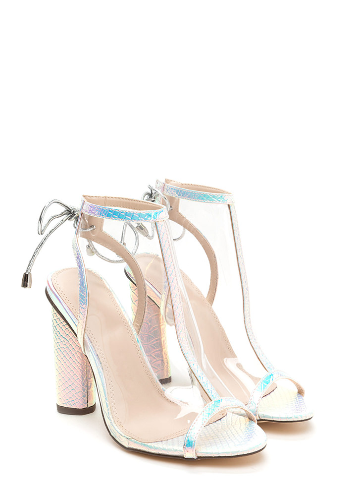 Clear Your Mind Tied Snakeskin Heels PINK