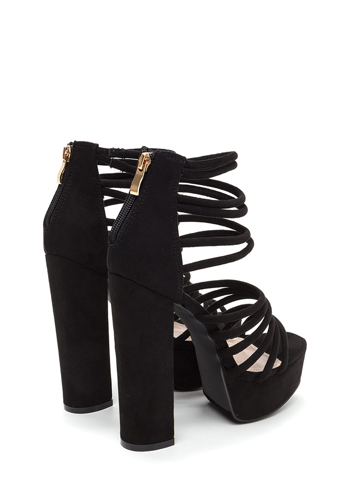 Stylish Climb Caged Faux Suede Heels BLACK