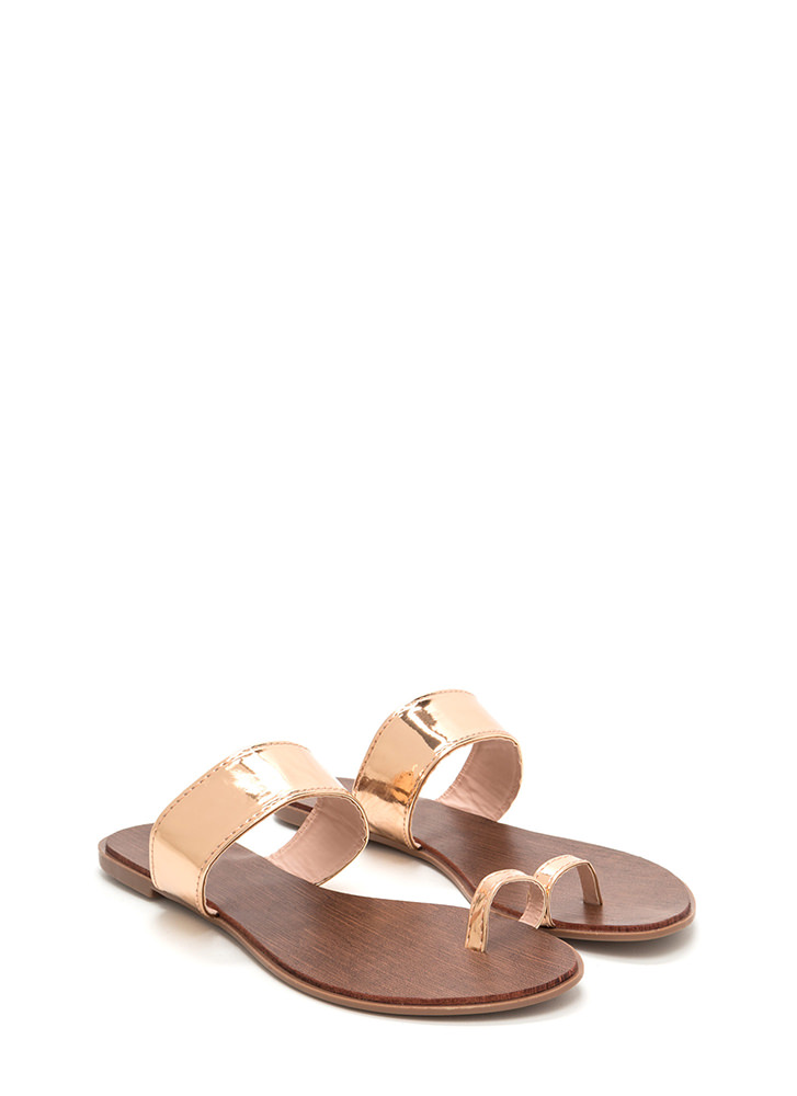On Your Toes Metallic Slide Sandals ROSEGOLD