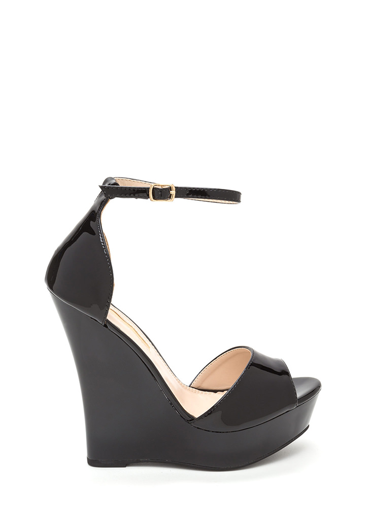 Sleek 'N Smooth Platform Wedges BLACK