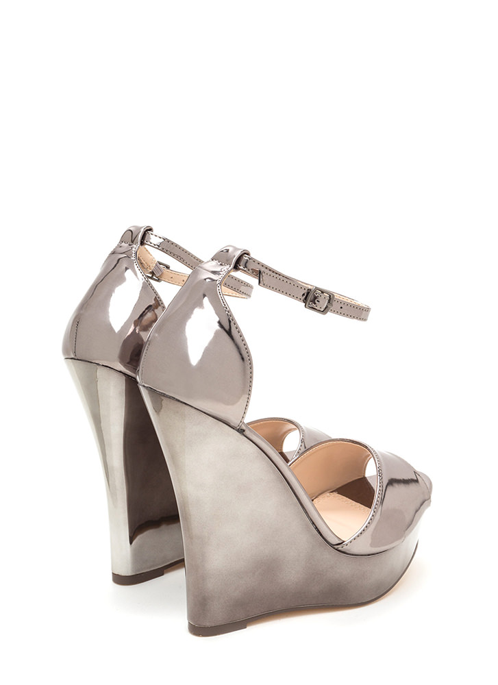 Sleek 'N Smooth Platform Wedges PEWTER