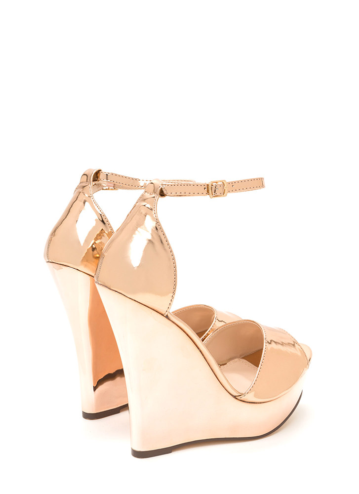 Sleek 'N Smooth Platform Wedges ROSEGOLD