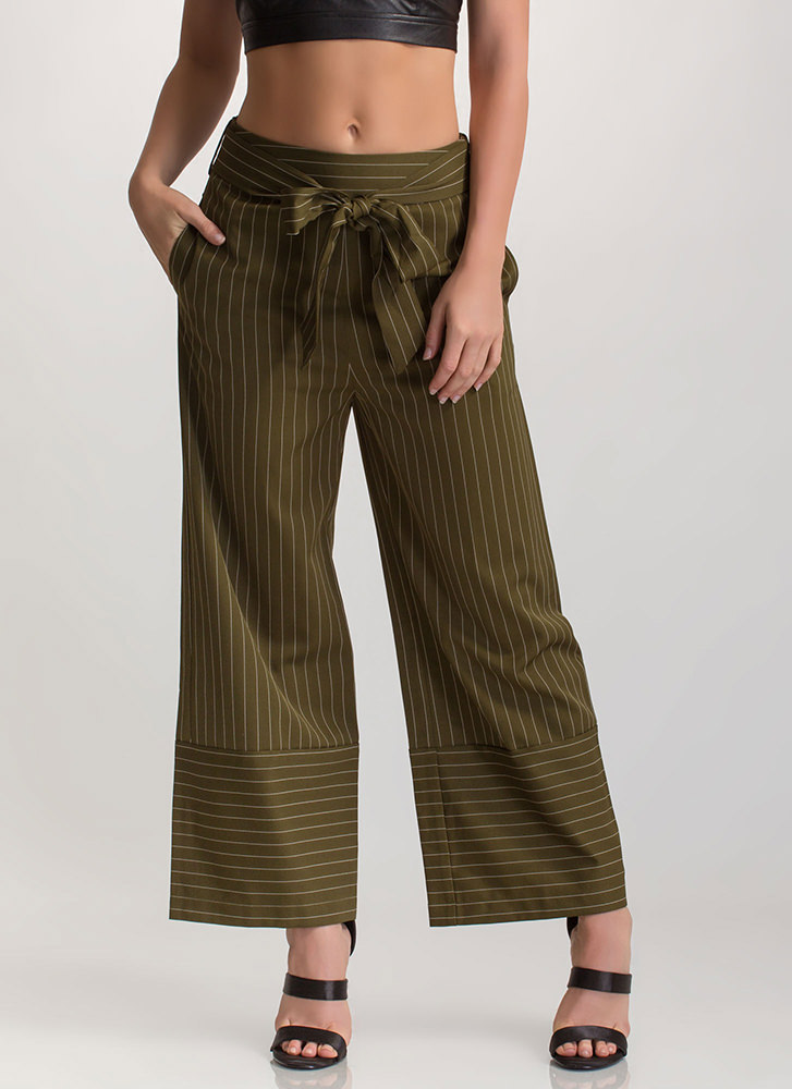 Sign On The Line Wide Tied Pants OLIVE