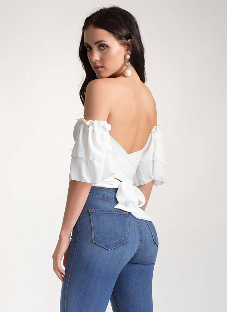 Cross Check Tied Off-Shoulder Top IVORY