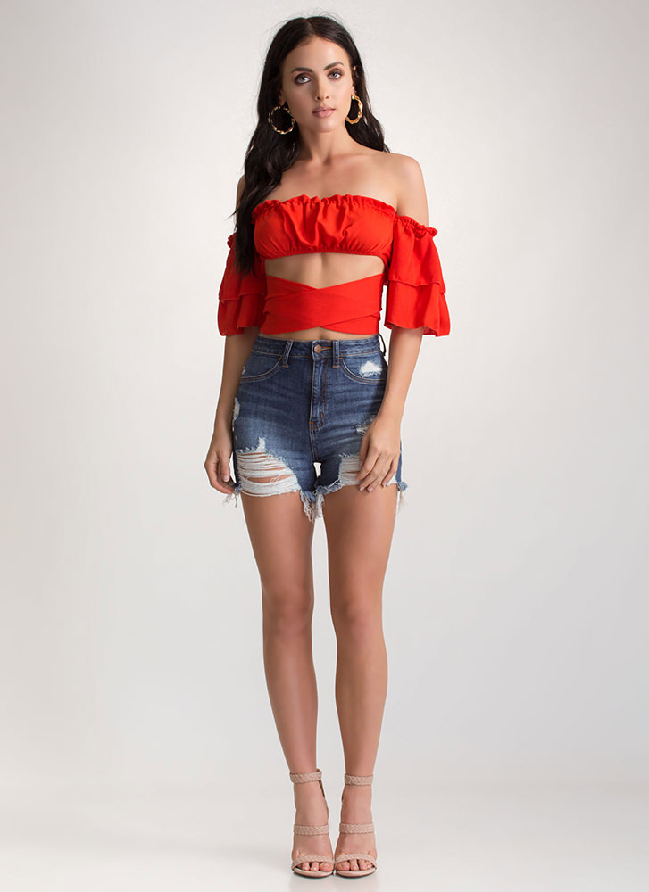 Cross Check Tied Off-Shoulder Top RED